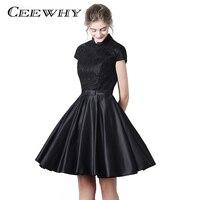 CEEWHY Vintage Cap Sleeve High Collar Little Black Dress Short Wedding Party Dress Knee Length Half