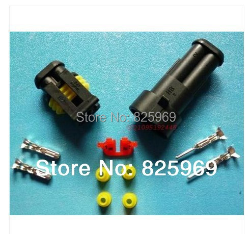 Free Shipping 10sets 2Pin/way 2 Waterproof Electrical connector kit (Housing+Terminal+grommet+Other) for car boat ect.