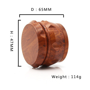 Image 4 - New Arrival Wooden Herb Grinder 63 MM 3 Layers Spice Herb Grinder with Metal Teeth Tobacco Hand Grinder Crusher Party Gifts 2019