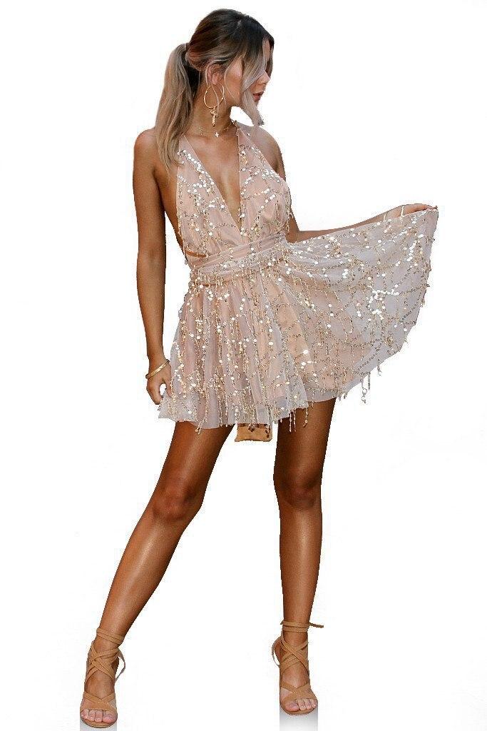 Летнее Бандажное платье с блестками и открытой спиной, облегающее женское сексуальное вечернее мини-платье для ночного клуба, черное Банда...