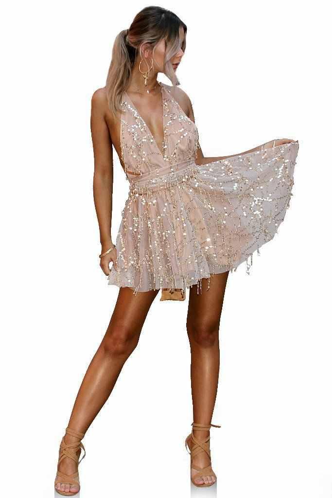 Paillettes dos nu pansement robe d'été moulante femmes Sexy discothèque fête Mini robe noir pansement profond col en V robes Vestidos