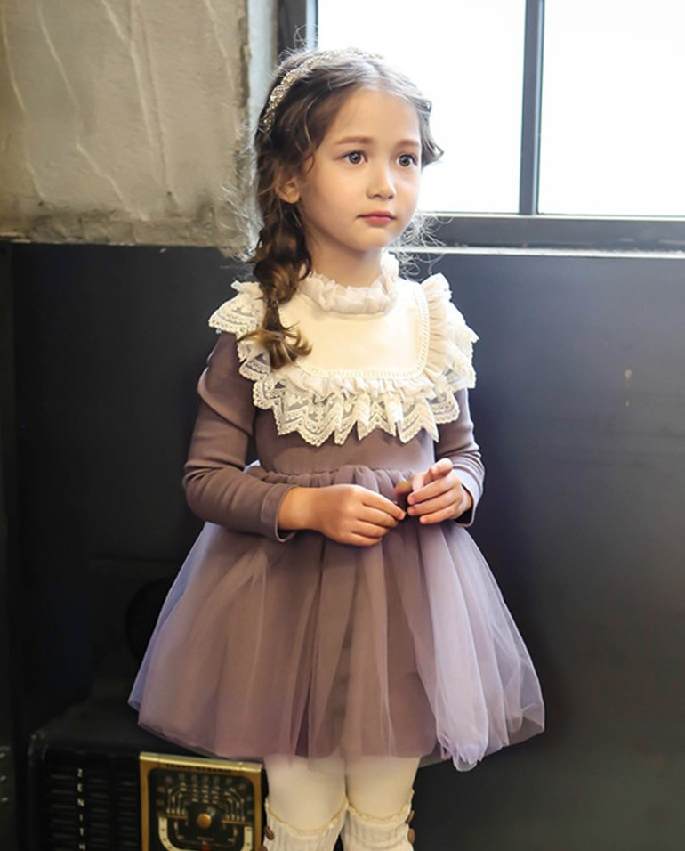 2016 New Sweet Princess Lace Dress For Baby Kids Girl Clothing Tutu Webbing Party Prom Autumn Long Sleeved Quality Child