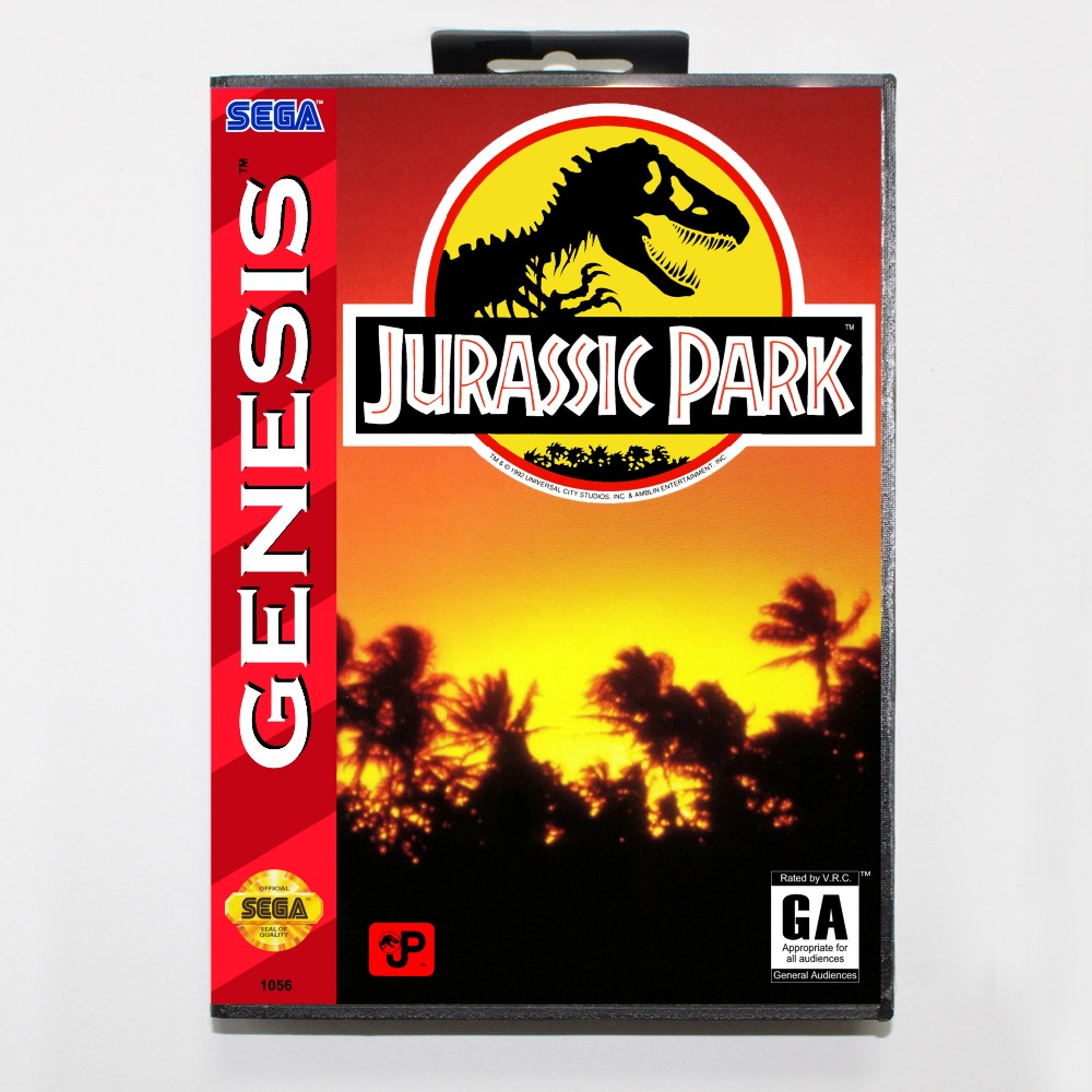 New 16 bit MD game card - jurassic park with Retail box For Sega genesis system
