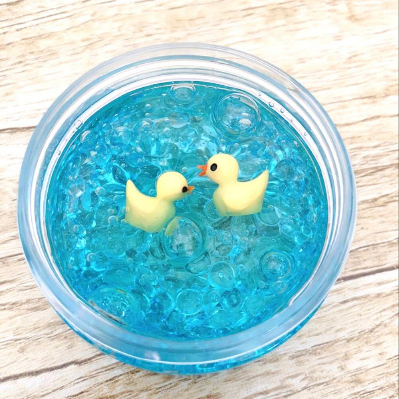 Kids Squeeze Toy Fluffy Slime Transparent Swimming Ducks DIY Stress Relief Toy For Kids