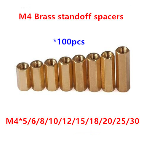 100pcs 4mm Thread <font><b>M4</b></font> Hex Brass Standoff spacer Female to Female Spacing Screws Double pass Hex Long Nuts <font><b>M4</b></font>*6/8/10/12/15/20/<font><b>25mm</b></font> image