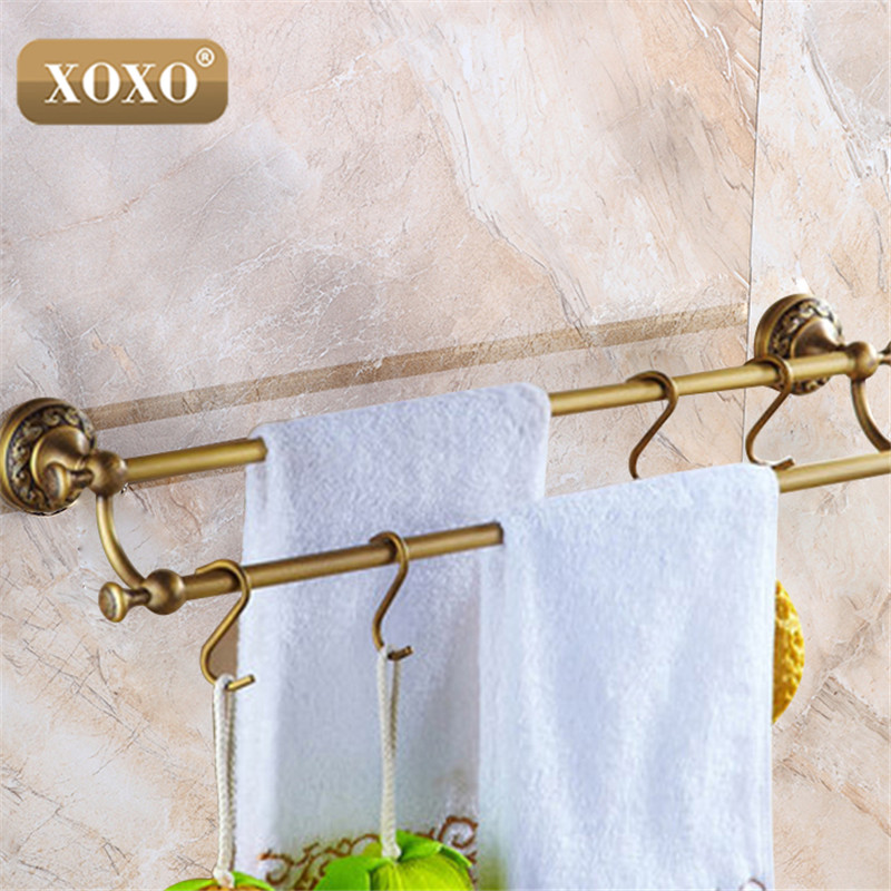 Antique brass double towel bar towel holder towel rack for Rack for bathroom accessories