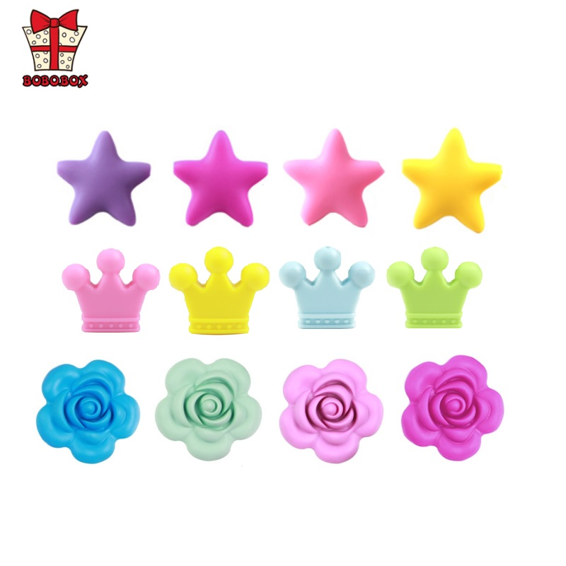 BOBO.BOX 1PC Silicone Beads Teething Rose Star Crown Necklace Nursing Toy Accessories Newborn Teething Silicone Teethers