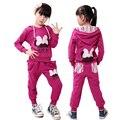 Meninas Sportswear Outono 2 peças ternos de algodão Puro Esporte Crianças Agasalho roupas Casuais com Arco