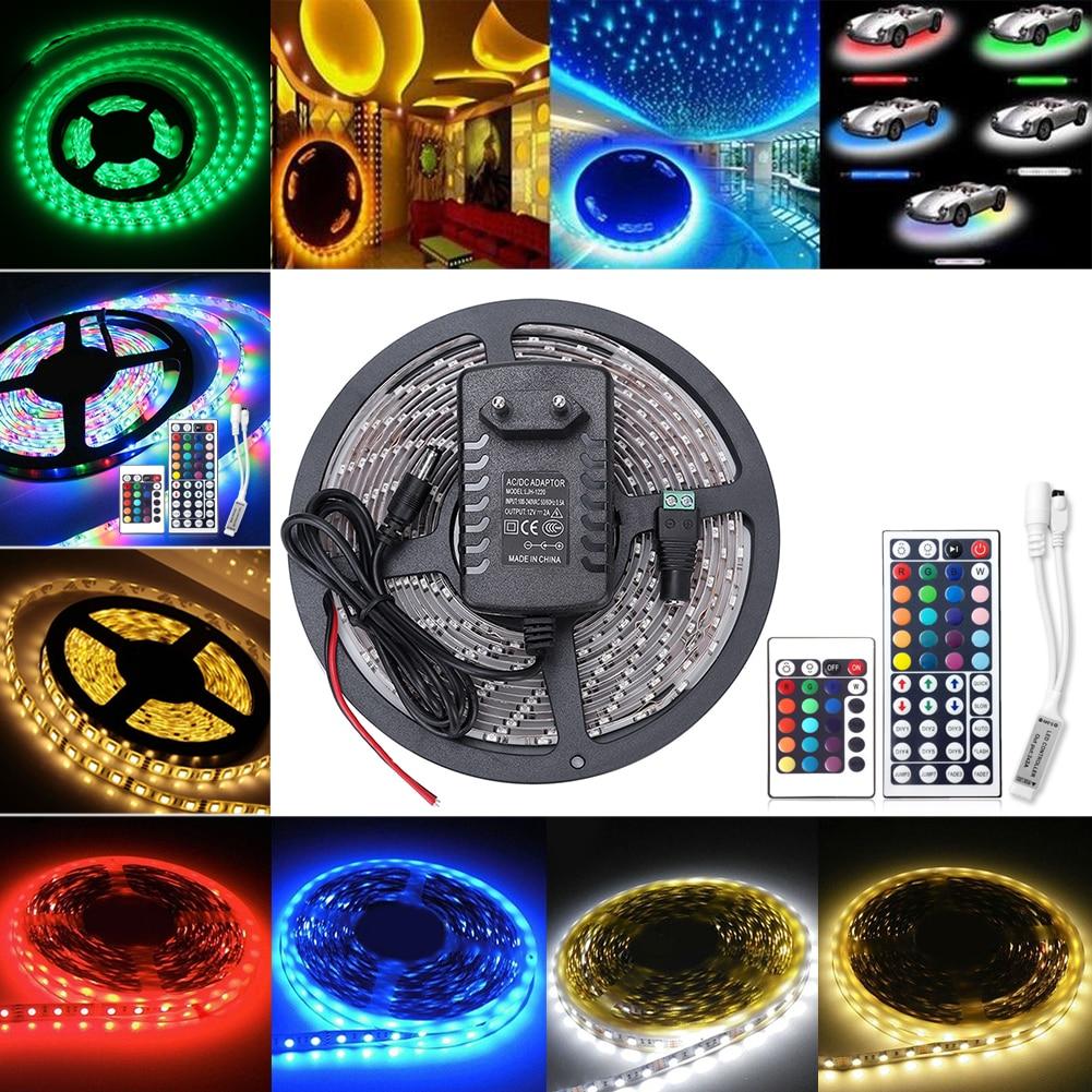 TSLEEN DC12V HA CONDOTTO LA Striscia 5 Metro Flessibile luce LED di Colore RGB, HA CONDOTTO La Striscia 5050 RGB 24/44Key controller + 12 V adattatore di Alimentazione