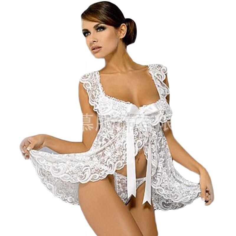 Plus la Taille Femmes Sexy Érotique Lingerie Sheer Dentelle Transparent Open Front De Nuit Porno Pyjamas Sexy Costume Lingerie ThongsQQ418
