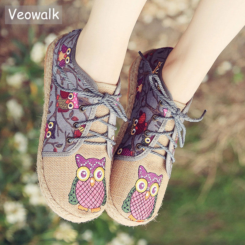 Veowalk Vintage Women Shoes Thai Cotton Linen Canvas Owl Embroidered Cloth Single National Flats Woven Round Toe Lace Up Shoes vintage women linen shoes thai cotton canvas owl embroidered cloth single national flats woven round toe lace up shoes woman