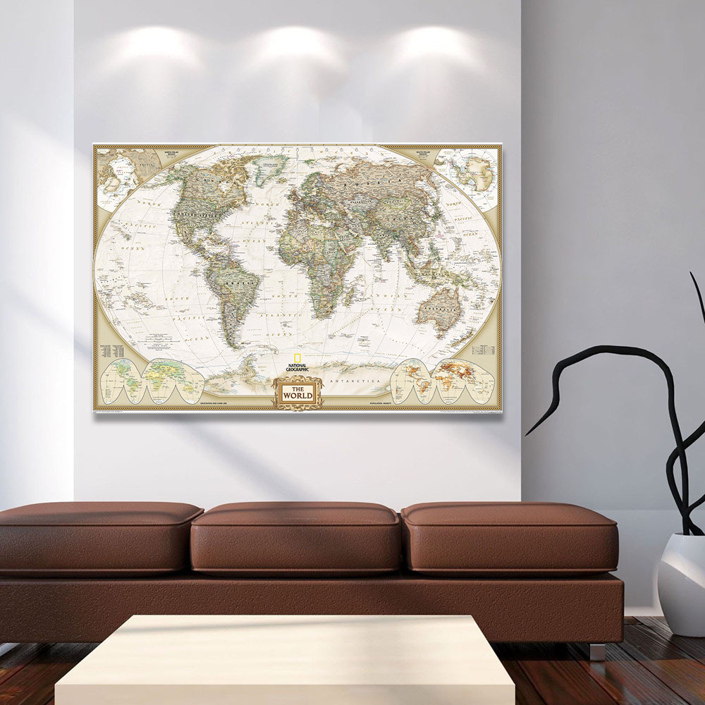 10PC Newest Vintage World Map Home Decoration Detailed Antique Poster Wall Chart Retro Paper Matte Kraft Paper 30*45CM Map World
