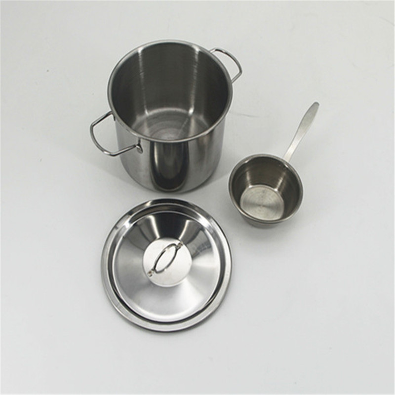 Miniature Stainless Steel Soup Bucket Pot Lid Simulation Kitchen Cooking Tableware Pretend Play Educational Gift Toys For Girls ...