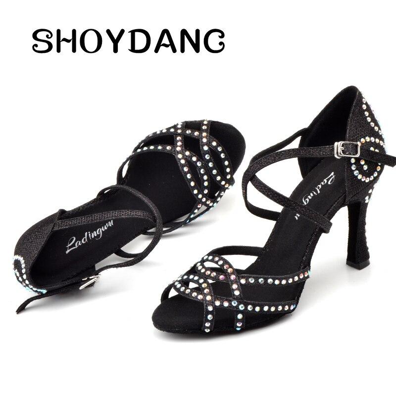 Chaussures de danse strass paillettes SHOYDANC Latin noir/bleu/or/argent tissu Flash chaussures de danse Salsa femme chaussures de danse de salon