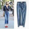 Chic flare jeans para as mulheres de cintura alta tornozelo-comprimento das calças jeans feminina plus size moda high street calças flare p45