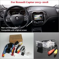 Yeshibation Car Rear View Back Up Reverse Camera Sets For Renault Captur 2013~2018 HD Night Vision RCA & Original Screen