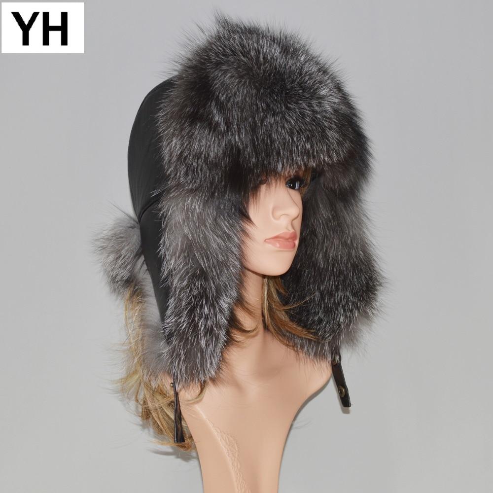 Hat Cap Bomber-Caps Fox-Fur Russia Winter Real-Leather Genuine Unisex Warm Hot-Sale Soft