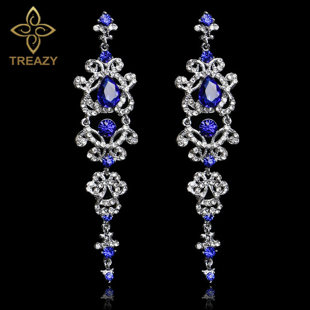 Treazy Gorgeous Royal Blue Crystal Bridal Long Drop Earrings Silver Plated Chandelier For Women Wedding