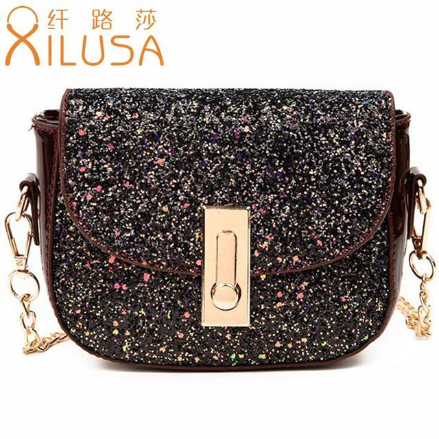 Xilusa Half Moon Shoulder Bags Fashion Women Leather Messenger Luxury Sequins Handbags Flap Pocket Bolso