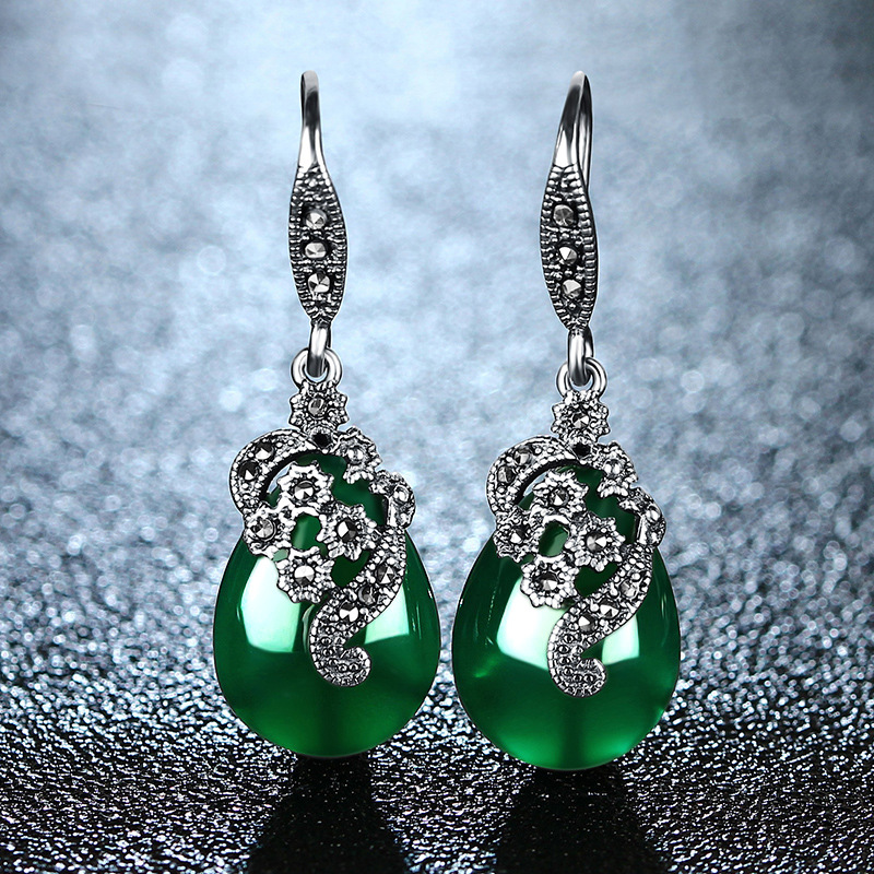 MetJakt Natural Green Agate/Garnet/Corundum Vintage Earrings Solid 925 Sterling Silver Drop Earrings for Women's EthnicJewelry metjakt bohemia natural agate white chalcedony drop earrings with zircon solid 925 sterling silver earring for women jewelry