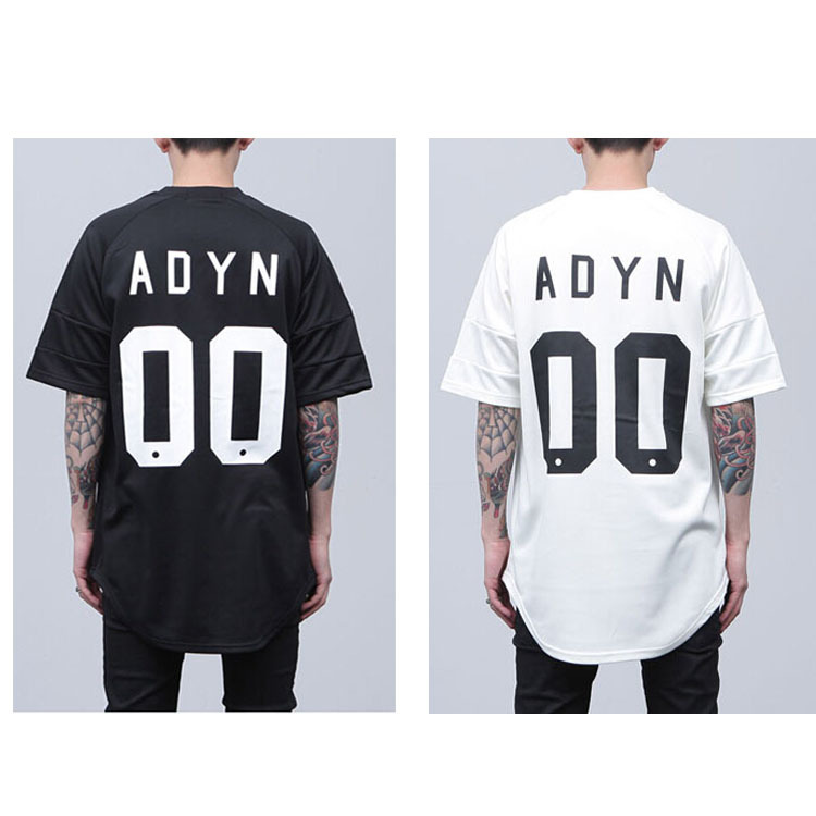 c1bdbb6bd167 hip hop fake designer clothes mens letter 00 round oversized baseball t  shirt skateboard jersey extended tee black and white