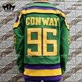ММ MASMIG Mighty Ducks #96 Чарли Конвей Кино Хоккей Джерси Зеленый
