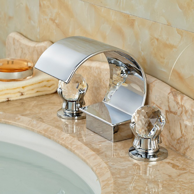 Luxury Crystal Handles Waterfall Bathroom Basin Faucet