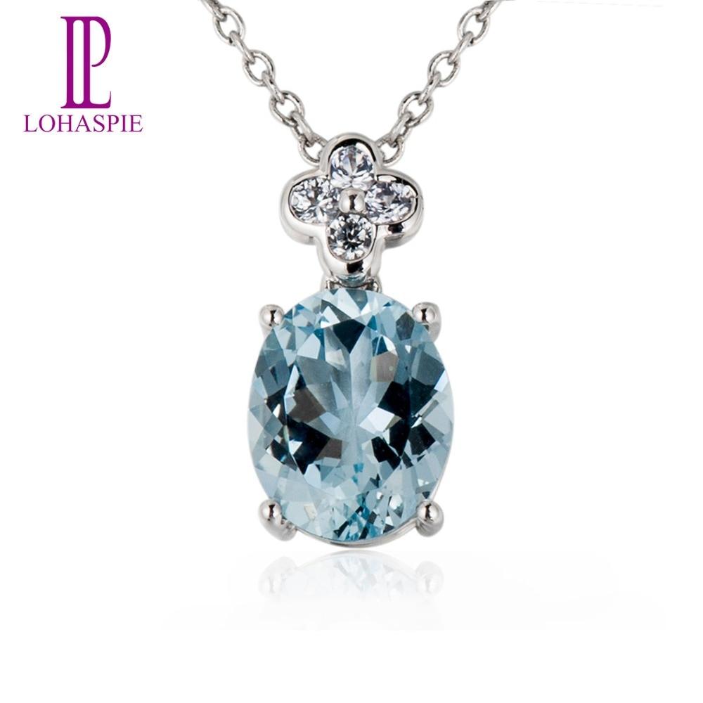 Lohaspie Stone Jewelry Gemstone Solid 18K 750 White Gold Genuine Sapphire 2.2ct Aquamarine Pendant Fine Fashion Jewelry For Gift