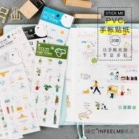 20Pcs Set Kawaii Cartoon PVC Stickers Diary Scrapbooking Decor Sticker DIY Cute Sealing Stickers Label Gift