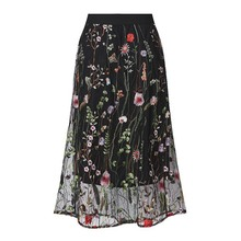 купить 2018 Bohemian Elegant Sweet OL Plus Size 5XL Women Skirts A-Line Lace Floral Mesh Embroidery Girl School Cute Black Female Skirt дешево