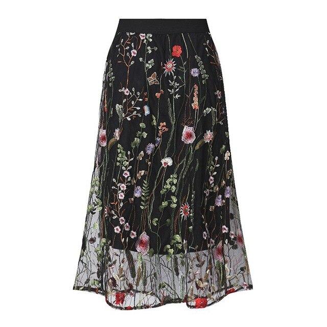 eccc26625f 2018 Bohemian Elegant Sweet OL Plus Size 5XL Women Skirts A-Line Lace Floral  Mesh Embroidery Girl School Cute Black Female Skirt