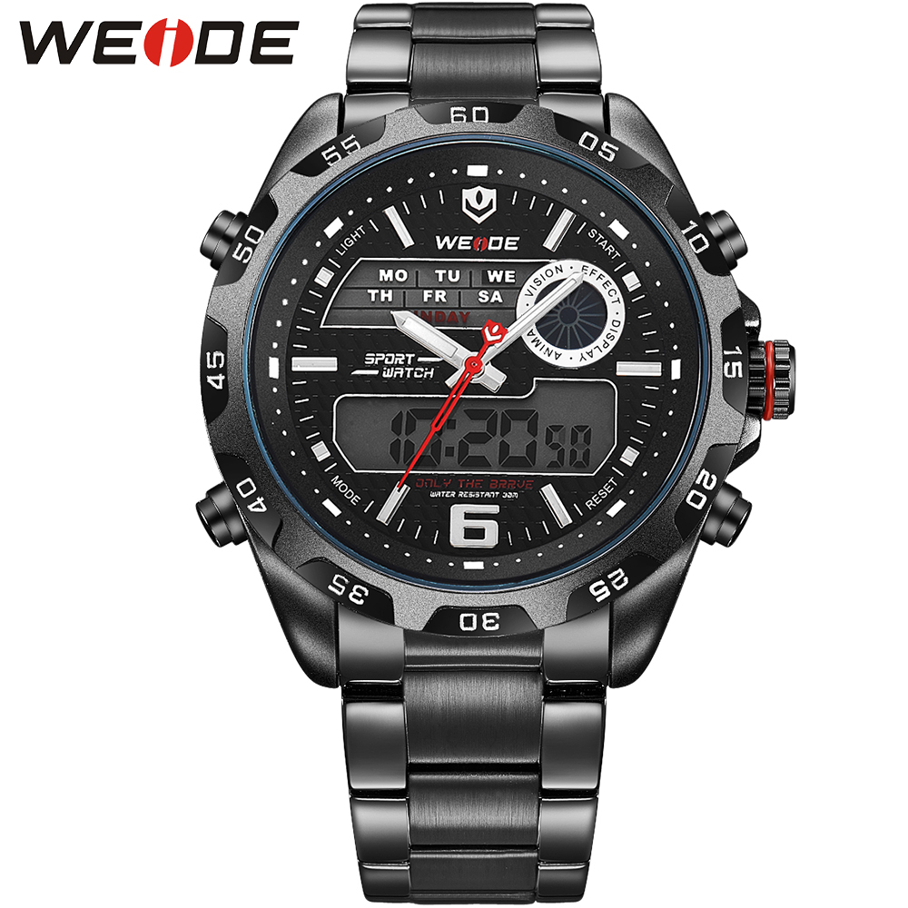 ФОТО WEIDE Luxury Brand Men Military Watch Full Stainless Steel Back Light Stop Watch Multiple Time Zone Sport Watches Analog Digital