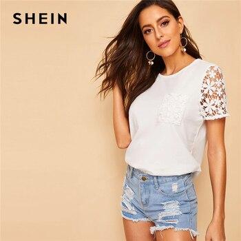 fa111ef3712 Шеин Гипюр кружево рукавом карман деталь футболка Swish женская одежда  белые однотонные Топы корректирующие Лето 2019 г. Повседневное короткий
