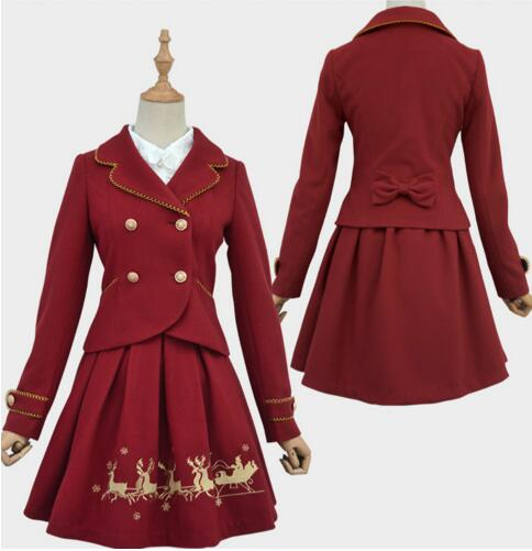 ФОТО 2016 New Sweet Women's Christmas Outwear Deep Red/White Jacket and Reindeer Embroidered A line Skirt Two Piece Set