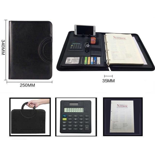 ファイルフォルダ A4 fichario リングバインダーケースドキュメント事務マネージャー padfolio ファイルキャビネットホルダージッパーブリーフケースバッグ
