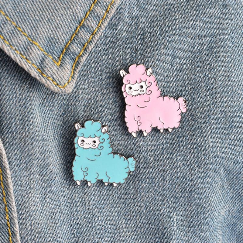 2.8x3.3cm Cute Animal Sheep Badge 3D Pink Enamel Pin Brooch For Boys Girls T Shirt Collar Coat