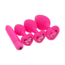 Silicone Anal Plug Women Soft Comfortable Butt Beads Ball Plugs Heart Crystal Base Prostate Massager Adult Gay Sex Toys