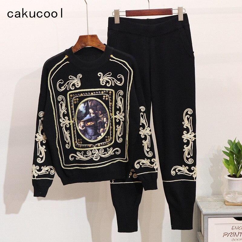 Cakucool 2019 jesień kobiety moda z dzianiny dwuczęściowy zestaw Streetwear na co dzień w stylu Vintage malarstwo haft zestawy garniturów kobiety odzież w Zestawy damskie od Odzież damska na  Grupa 1