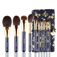 OUYANI Shining SERIES Brush set High Quality Saikouhou Goat hair Professional 10 Brushes with Case Beauty Makeup Brush Kit