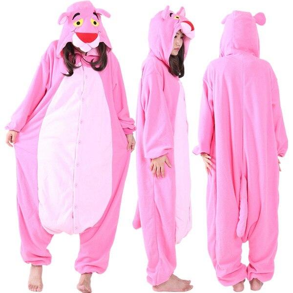 b04d01a66bbc Взрослые Мужской флис Розовая пантера Комбинезоны пижамы комбинезон зимний  костюм на Хэллоуин для женщин мультфильм животных