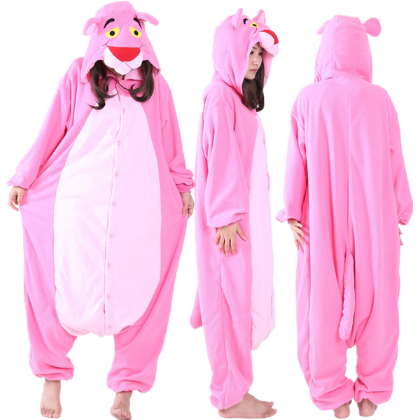 Adult Unisex Polar fleece Pink Panther Onesies Pyjamas Romper Winter Halloween Costume for Woman Cartoon Animal Cosplay Pajamas
