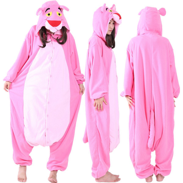 adult unisex polar fleece pink panther onesies pyjamas romper winter halloween costume for woman cartoon animal