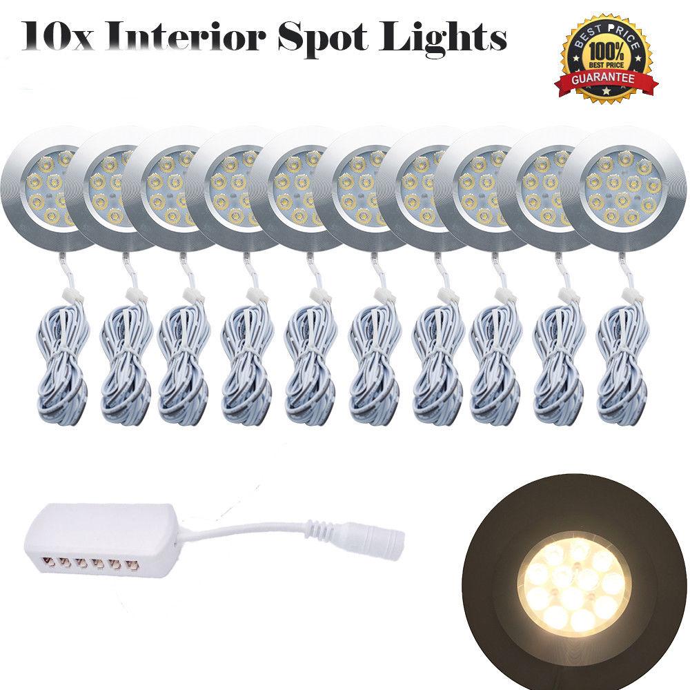 DC12V 3W 12 LED Spot Cabinet Light Interior Lamp For Transporter Van Boat Car RV LED Interior Warm Light 3000K