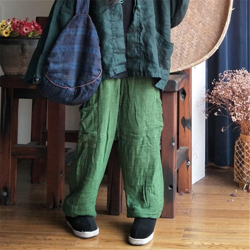 Johnature 2019 Spring Linen Thicken Vintage Original Loose Ankle-Length Women   Pants   New Solid Color Elastic Waist   Wide     Leg     Pants