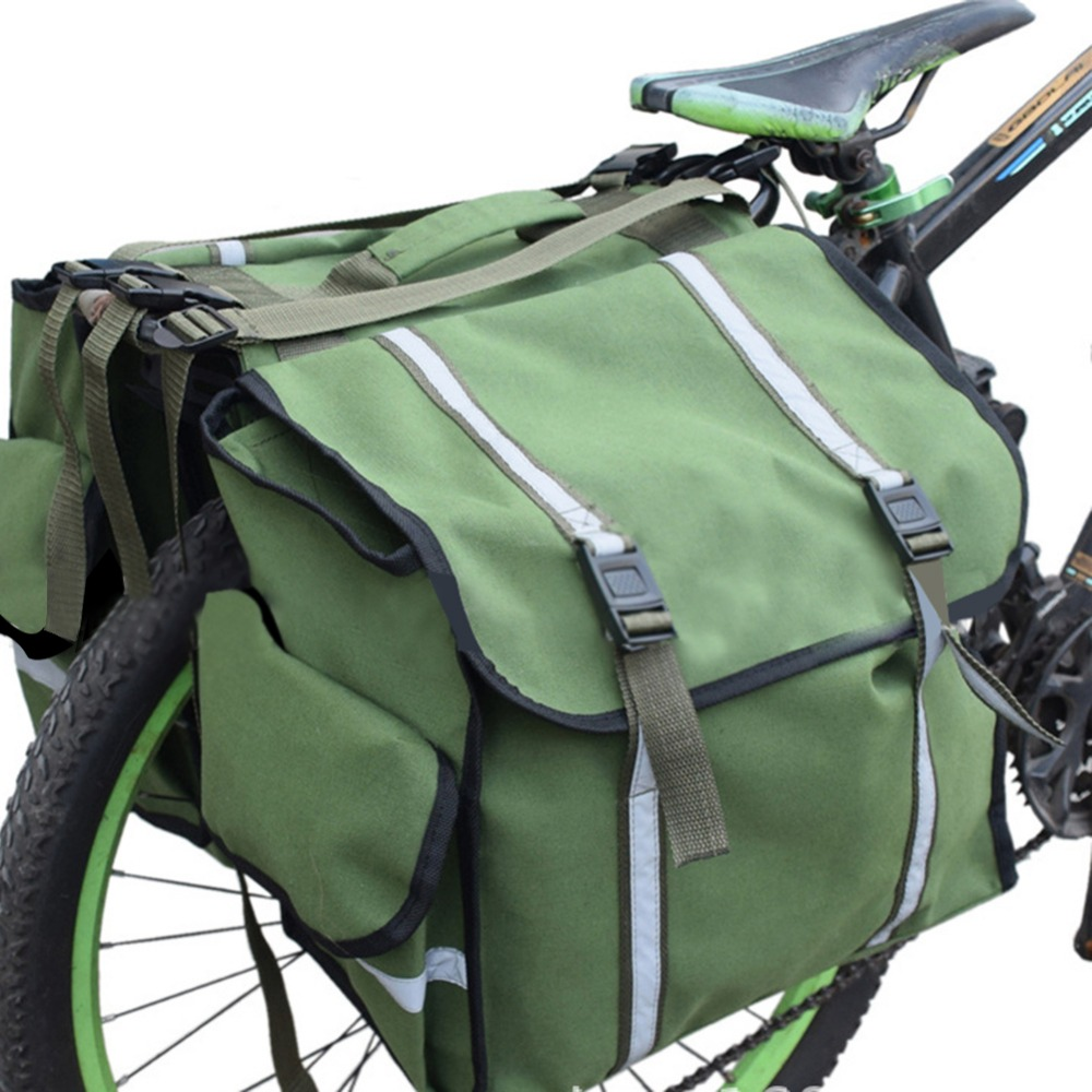 Waterproof Canvas Mountain Road Bicycle Bike Rack Back Rear Seat Tail Carrier Trunk Double Pannier Bag with Reflective StrapWaterproof Canvas Mountain Road Bicycle Bike Rack Back Rear Seat Tail Carrier Trunk Double Pannier Bag with Reflective Strap