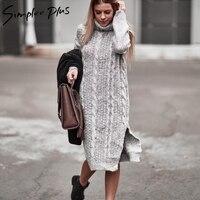 Simplee Plus Winter Women Warm Sweater Dresses Plus Size Soft Long Sleeve Split Side Casual Dress Turtleneck Long Knitted Dress