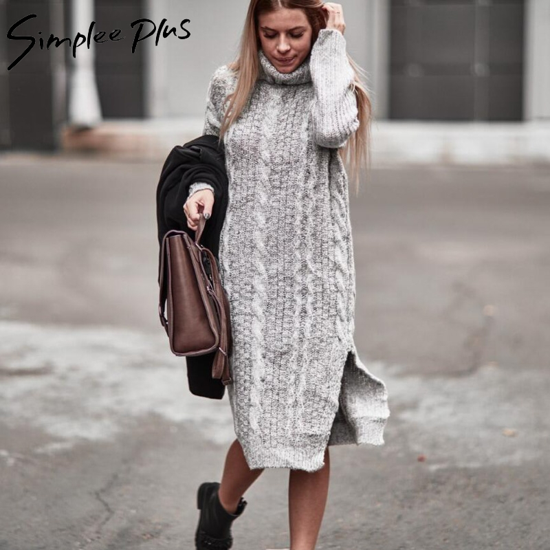 Simplee Plus Winter Women Warm Sweater Dresses Plus Size Soft Long Sleeve Split Side Casual Dress Turtleneck Long Knitted Dress