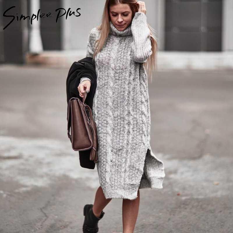 3e55c26d219 Simplee плюс зима Для женщин теплые Платья-свитеры плюс Размеры Длинный  рукав Разделение сбоку Повседневные