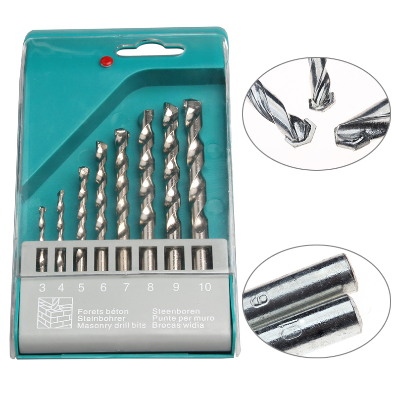 8PCS HSS Masonry Drill Bits Round Shrank Twist Drilling Power Tools Set For Brick Wall Concrete Building Architecture 3-10mm new 10pcs jobbers mini micro hss twist drill bits 0 5 3mm for wood pcb presses drilling dremel rotary tools
