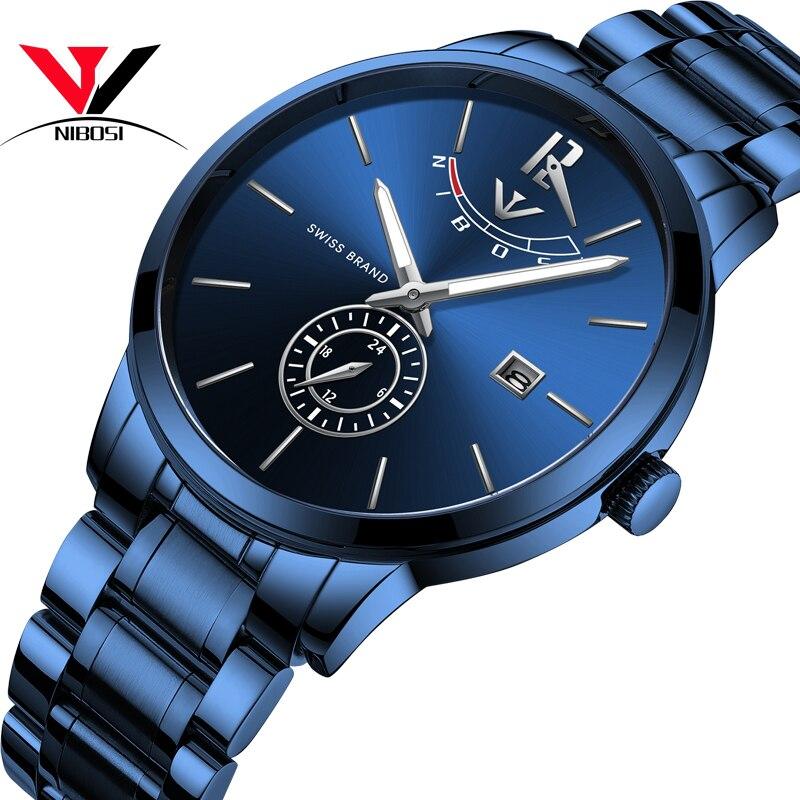 NIBOSI 2018 Mens Watches Top Brand Luxury Original Analog Watch For Men Waterproof/Luxury Casual Stainless Steel Erkek Kol Saati